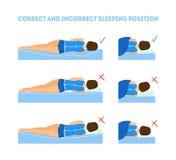 Sistema correcto de la postura del cuerpo el dormir de la historieta Vector stock de ilustración