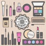 Sistema cosmético del vector de los objetos de los iconos del maquillaje Foto de archivo