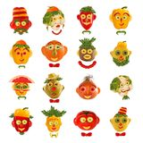 Sistema creativo de conceptos de la comida Algunos retratos divertidos del veget Fotos de archivo libres de regalías