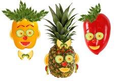 Sistema creativo de conceptos de la comida Tres retratos divertidos del veget Foto de archivo libre de regalías