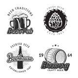 Sistema creativo de la cerveza del diseño de los logotipos Ilustración del vector Fotografía de archivo