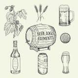 Sistema creativo de la cerveza Ilustración del vector Bosquejo, diseño gráfico Imagen de archivo libre de regalías