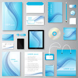 Sistema creativo de la identidad corporativa de la onda del vector de marcado en caliente de los efectos de escritorio Foto de archivo libre de regalías