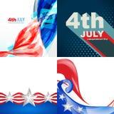 Sistema creativo del diseño de la bandera americana de la independencia DA del 4 de julio stock de ilustración