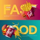 Sistema creativo del diseño del cartel de los alimentos de preparación rápida Imágenes de archivo libres de regalías
