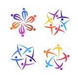 Sistema creativo del logotipo de la gente Comunidad, equipo, familia o concepto de los iconos de la plantilla de la red Ilustraci Foto de archivo libre de regalías