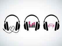 Sistema creativo del logotipo de los auriculares de la música ilustración del vector