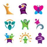 Sistema creativo y abstracto feliz del icono de la gente para el éxito humano en el alcance para la estrella stock de ilustración