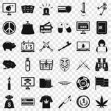Sistema criminal de los iconos del dinero, estilo simple ilustración del vector
