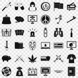 Sistema criminal de los iconos del Spam, estilo simple ilustración del vector