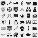 Sistema criminal de los iconos del virus, estilo simple ilustración del vector