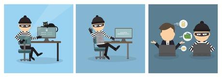 Sistema criminal del pirata informático ilustración del vector