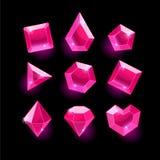 Sistema cristales de las formas del rosa de la historieta de diversos stock de ilustración