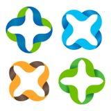 Sistema cruzado colorido abstracto aislado del logotipo del vector Colección de los signos de multiplicación resumido más y Grupo Imágenes de archivo libres de regalías