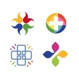 Sistema cruzado inusual del logotipo del vector Símbolo de la atención sanitaria Colección cruzada colorida de los logotipos Fotos de archivo