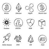 sistema crypto exhausto de la moneda de la mano superior 12 aislado en el ejemplo blanco del vector del fondo libre illustration