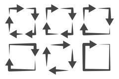 Sistema cuadrado del icono de las flechas ilustración del vector