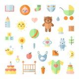 Sistema cuadrado del vector de los iconos planos grandes lindos del bebé Foto de archivo libre de regalías
