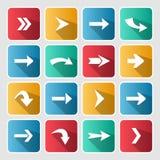 Sistema cuadrado redondeado flecha colorida del icono Fotografía de archivo libre de regalías