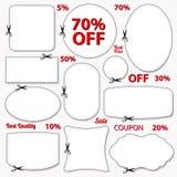 Sistema: Cupón de la venta, etiquetas. Plantilla en blanco, tijeras libre illustration