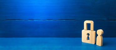 Sistema da seguran?a e de alarme Servi?o de seguran?a Figura de madeira de uma pessoa com cadeado Tr?s povos com um fechamento se fotografia de stock royalty free