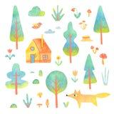 Sistema de árboles, casa, animal de la acuarela aislado en el fondo blanco Foto de archivo libre de regalías