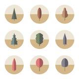 Sistema de árboles de los iconos Imágenes de archivo libres de regalías