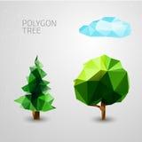 Sistema de árboles de los polígonos Picea, nube Vector Foto de archivo libre de regalías