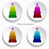 Sistema de árboles de navidad coloridos con un modelo triangular poligonal Vektor Foto de archivo libre de regalías