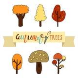 Sistema de árboles del otoño con poner letras de los árboles del otoño Ilustración del vector Foto de archivo libre de regalías