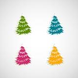 Sistema de árboles del vector en un fondo ligero Foto de archivo libre de regalías