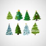 Sistema de árboles del vector en un fondo ligero Imagen de archivo libre de regalías