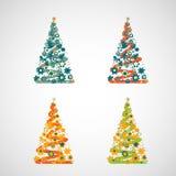 Sistema de árboles del vector en un fondo ligero Fotografía de archivo libre de regalías