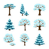 Sistema de árboles estilizados del extracto del invierno travieso Foto de archivo libre de regalías