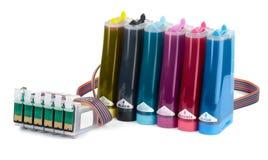Sistema de abastecimiento continuo de la tinta (CISS) Foto de archivo libre de regalías