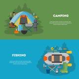 Sistema de acampar y de fising diseño plano Imagen de archivo libre de regalías