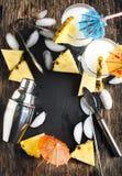 Sistema de accesorios de la barra y de vidrios del cóctel de Pina Colada Fotografía de archivo libre de regalías