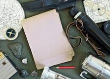 Sistema de accesorios del viaje del vintage Imagen de archivo libre de regalías