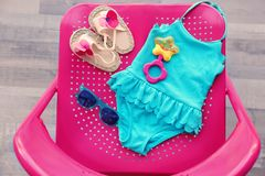 Sistema de accesorios de la playa del bebé Fotografía de archivo