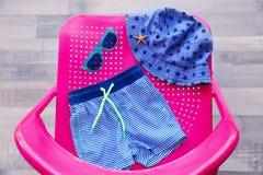Sistema de accesorios de la playa del bebé Foto de archivo