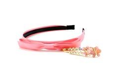 Sistema de accesorios rosados del pelo Imágenes de archivo libres de regalías