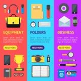 Sistema de Accessory Banner Vecrtical de la empresaria de la historieta Vector Stock de ilustración