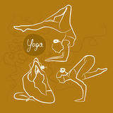 Sistema de actitudes de la yoga Fondo amarillo libre illustration