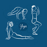 Sistema de actitudes de la yoga Fondo para una tarjeta de la invitación o una enhorabuena ilustración del vector
