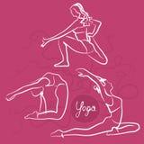 Sistema de actitudes de la yoga Fondo rosado brillante ilustración del vector