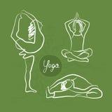 Sistema de actitudes de la yoga Fondo verde libre illustration