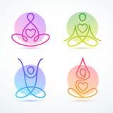 Sistema de actitudes de la yoga usando la línea figuras ilustración del vector