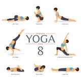 Sistema de 8 actitudes de la yoga en diseño plano La mujer figura ejercicio en la ropa de deportes para el infographics de la yog Fotos de archivo libres de regalías