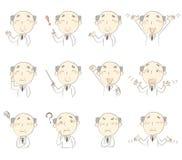 Sistema de actitudes, traje blanco que lleva del doctor de la Edad Media Imagen de archivo