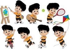 Sistema de actividad del niño, niño que pinta una imagen, tocando una guitarra, juego libre illustration